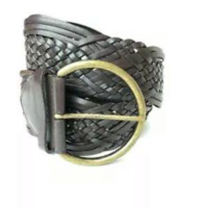 Boho Chic Brown Leather Belt Sz L w Brass Buckle
